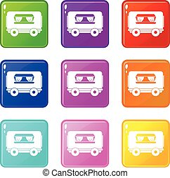 Food trailer icons 9 set