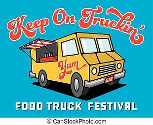 Food Truck Cartoon Vector Illustration.