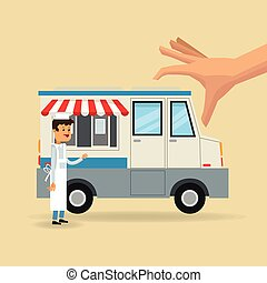 Simple Urban Food Truck Vector Design Template - Food truck design template