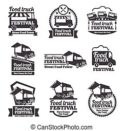 Food truck festival emblems and logos vector set. Festival...