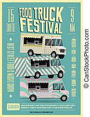 Food Truck Festival Poster Flyer Template. Street Food Poster. Vector Illustration.