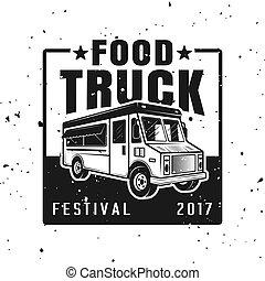 Food truck festival vector emblem, badge, label