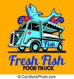 Food Truck Fish Shop Delivery Service Vector Logo