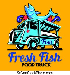 Food Truck Fish Shop Delivery Service Vector Logo