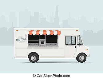 Food truck. Flat styled vector illustration.