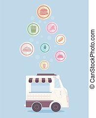 Food Truck Food Icons Drop Illustration