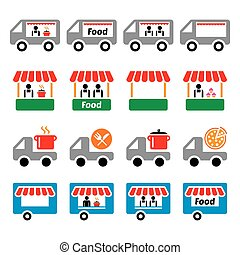 Food truck, food stand, food trailer, food delivery - pizza, farmer's market vector icons set