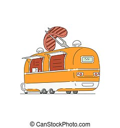 Food truck for grilled meat dishes icon sketch vector illustration isolated.