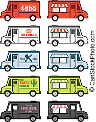 Food truck graphics - Set of food truck illustrations and...