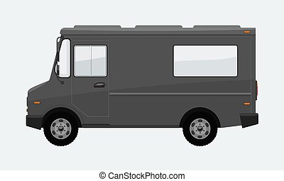 Food Truck Hi-detailed with solid and flat color design template for Mock Up Brand Identity. Illustrated vector