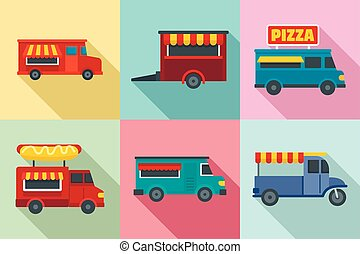 Food truck icon set, flat style