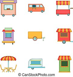 Food truck icons set, cartoon style