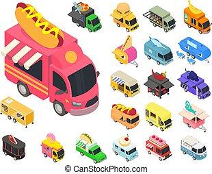 Food truck icons set, isometric style