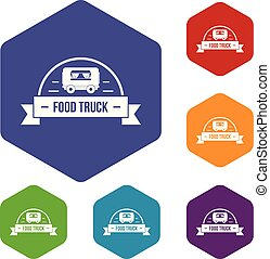 Food truck icons vector hexahedron