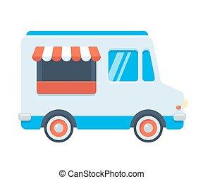 Cute retro food truck illustration in flat cartoon vector style. Blue fast food van or ice cream truck.