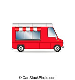Food truck isolated on white, red car for fast food or ice cream sale, realistic vector 3d model