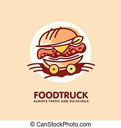 Food truck logo design idea with juicy burger on the wheels