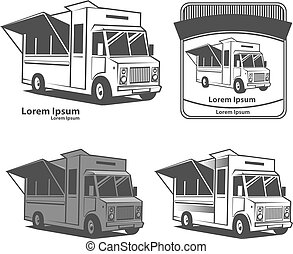 food truck logo - food truck emblem, design elements, simple...