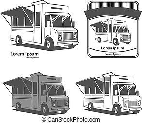 food truck logo - food truck emblem, design elements, simple...