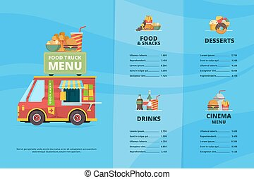 Food truck menu. Urban fast food restaurant street festival pizza barbecue trucks cooking van vector template