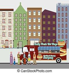Food Truck On The Street Vector Illustration