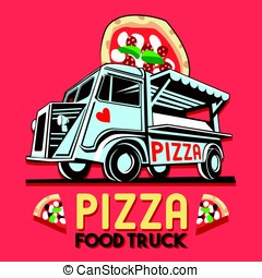 Food Truck Pizza Fast Delivery Service Vector Logo