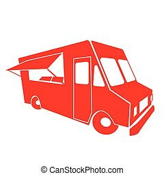 Food truck, red, isolated on the white background