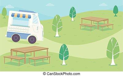 Food Truck Roam Park Illustration
