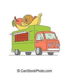 Food truck selling fruit - isolated drawing of street vendor car