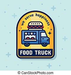 Food truck service badge banner. Vector illustration