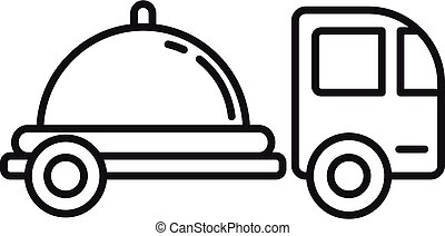 Food truck shipping icon, outline style
