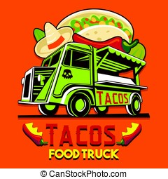 Food Truck Taco Mexican Fast Delivery Service Vector Logo -...