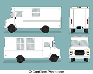 Food Truck Template - Illustrated food truck graphic with...