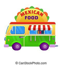 Food truck traditional mexican Taco. Vehicle icon vector illustration cartoon style