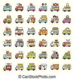 Food truck vector icon set, filled style editable stroke