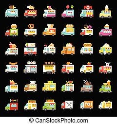 Food truck vector icon set, flat style