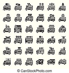 Food truck vector icon set, solid style