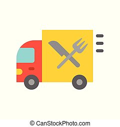 Food truck vector illustration, flat style icon