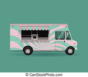 Food Truck Vector Illustration. Poster Flyer Template.