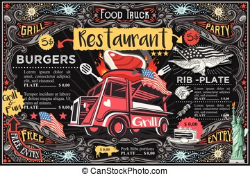 Food Truck Vector Menu and Logo