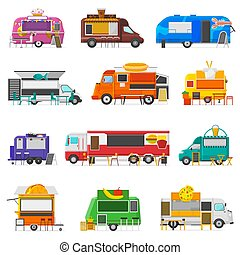 Food truck vector street food-truck vehicle and fastfood...