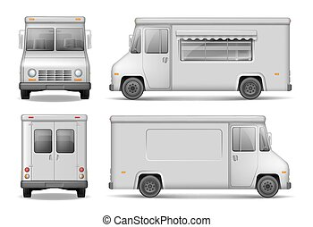 Food Truck Vector Template For Car Advertising. Service Delivery Van Isolated On White. Easy to edit and recolor. Silver Delivery Truck from side, front, back View EPS 10