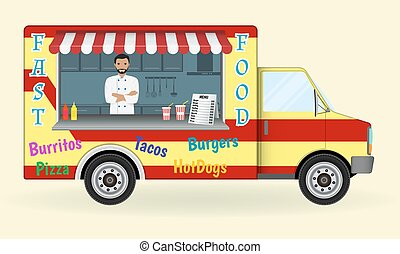 Food truck with a cook inside. Fast-food sailing car. Street nosh menu on wheels concept.