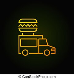 Food truck yellow icon - vector street food concept sign