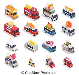 Food Trucks Isometric Collection