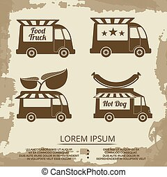 Food trucks set - vintage poster with food truck