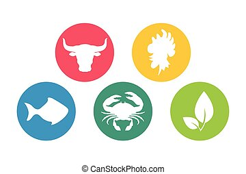 Food types flat icons silhouette set