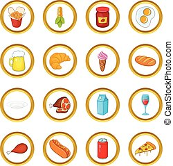 Food vector set, cartoon style