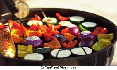 vegetables cooking on barbecue grill - food, vegetarian and...