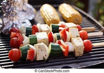 Food: Vegetarian Barbecue, vegetables and tofu kebabs -...